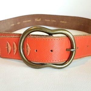 Fossil Genuine Leather Orange Hobo Belt